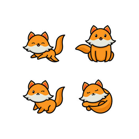 Set of cute cartoon foxes in modern simple flat style. Isolated vector illustration Illustration