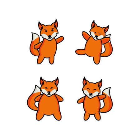 Set of cute cartoon foxes in modern simple flat style. Isolated vector illustration Stock Vector - 161184140