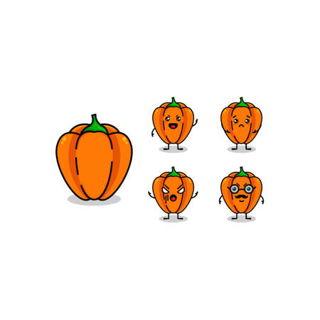 Paprica Vegetable Cute Character Isolated Vector Illustration
