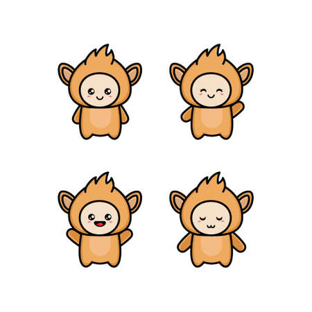 Set of cute funny monkeys in a cartoon style. Funny monkey in different poses. Monkey symbol of the year. Illustration