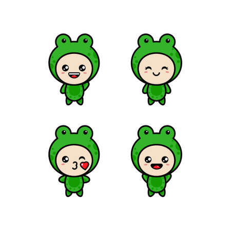 Set of cute cartoon frogs. Cute, croaking, in love, laughing, frightened, hungry. Vector illustration.