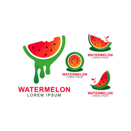 Set of graphic red and green watermelon logo templates, summer season, fruit company, vector illustration isolated on white background. Colorful watermelon logotype, logo design, round and slice