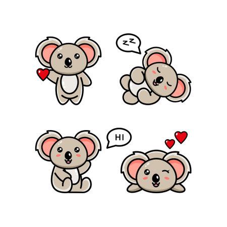 Vector illustration with koala in various poses. Collection of vector illustrations with a cute australian animal in cartoon style.