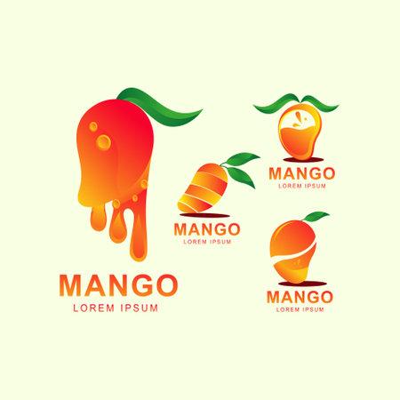 Manggo fruits logo set icon. fruits logo vector illustration.