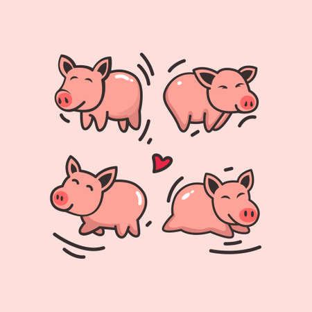 A set of cute piggy characters in different poses, sitting, standing, hand up and down. Funny pig. The symbol of the Chinese New Year