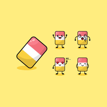 Cute Character Eraser with Different Expression. Vector Cartoon Illustration Set Collection