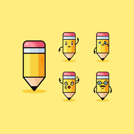 Set of happy cartoon pencils with books, backpack, glasses, graduation cap, vector illustration isolated on white background. Humanized funny pencils smiling, winking, giving okay