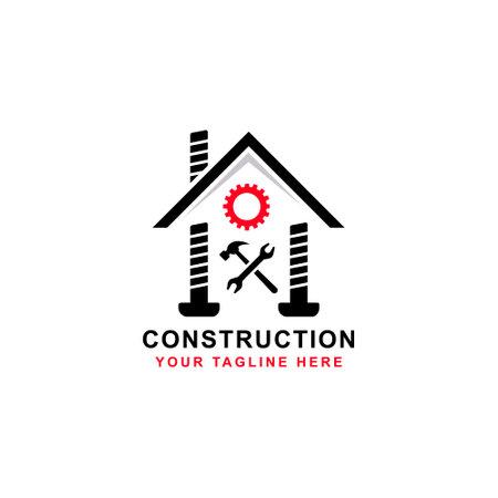 Creative Home Construction Concept Logo Design Template Stock Vector - 160958495