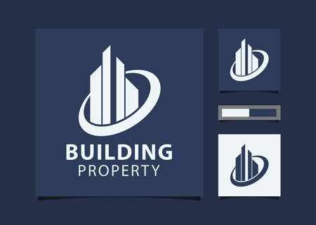 Abstract Building design for real estate, property business with mockup id card.