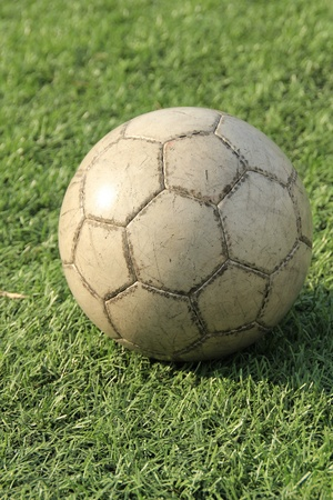 Soccer ball on the green grass  photo