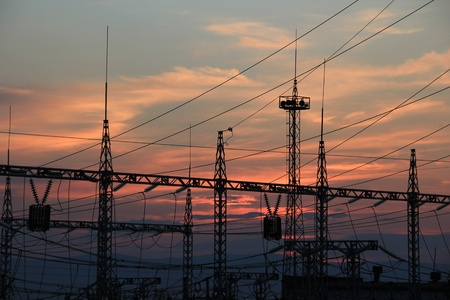 Power lines at sunset  photo