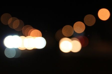 out of focus: Multi-colored lights out of focus