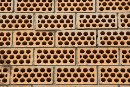 The wall of perforated bricks  photo