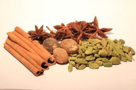 Cinnamon, anisetree, cardamom and nutmeg  Stock Photo