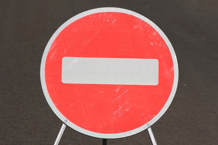 banning the symbol: A road sign forbidding passage