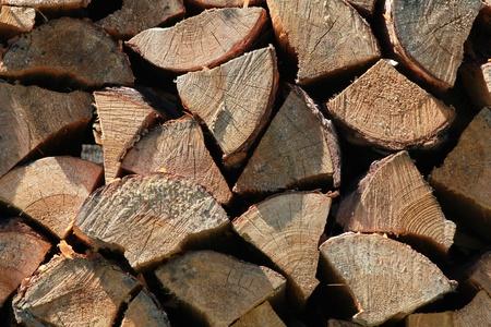 Pile of wood, close-up photo