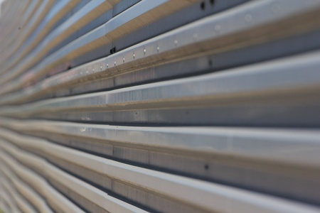 profiled: Profiled sheeting metal fence close-up