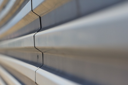 Profiled sheeting metal fence close-up