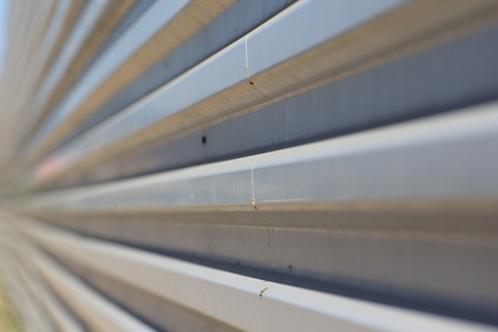 Profiled sheeting metal fence close-up photo