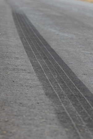 fresh trail braking of the car photo