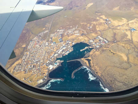 grindavik: View from the plane to Grindavik on Iceland. Stock Photo