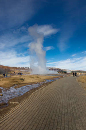 After the eruption of the Strokkur, great geyser on Iceland. Stock Photo