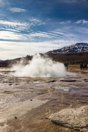 Large geyser just before breaking out. Stock Photo