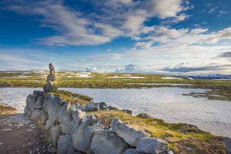 Stone figure on  a wall in front of icelandic landscape.
