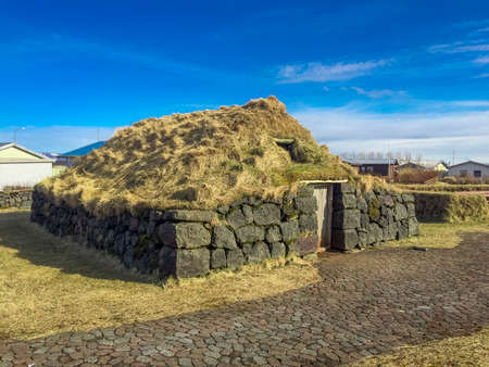 An old Icelandic fishing house built of stones Stock Photo