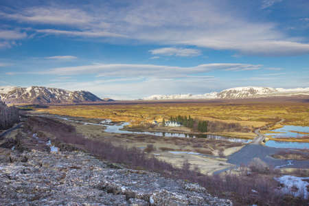 Icelands national park Thingvellir with old parliament houses Stock Photo
