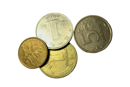international crisis: Coins on the white background isolated Stock Photo