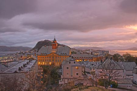 alesund: Sunrise over Alesund in Norway