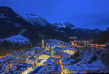berchtesgaden: The city of Berchtesgaden in the Bavarian Alps at night.
