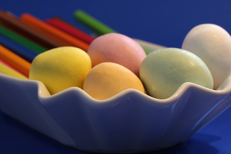 sugarcoated: Sugarcoated candy eggs filled with marchpan