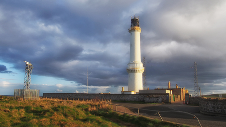 ness: Girdle Ness lighthouse in Aberdeen, Scotland Stock Photo