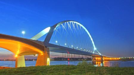 De oversteek bridge across the rive Waal near Nijmegen, The Netherlands