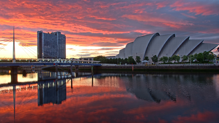 concert hall: Glasgow harbor district with the concert hall by the river Clyde in Scotland