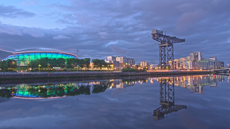 The harbor district of Glasgow in Scotland by the river Clyde.