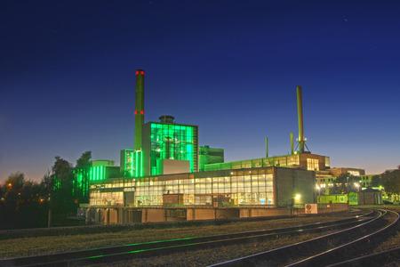 steam turbine: A gas and steam turbine power plant Stock Photo