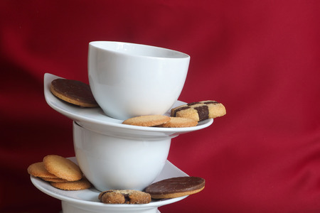 Cookies and stacked coffee cups