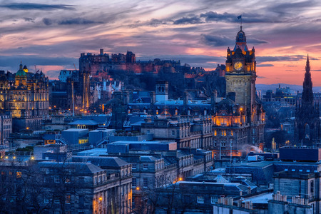 Old Town and castle in Edinburgh, Scotland