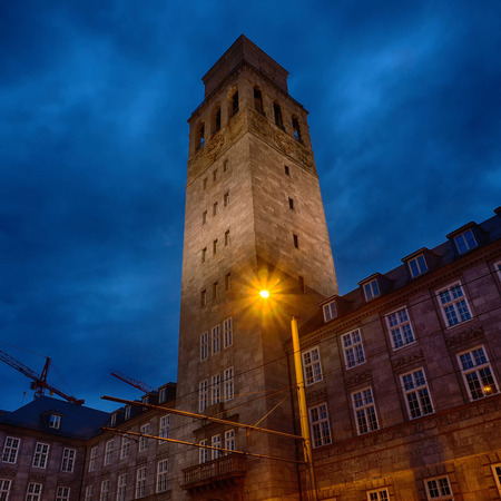 City hall tower at Muelheim Ruhr in Germany