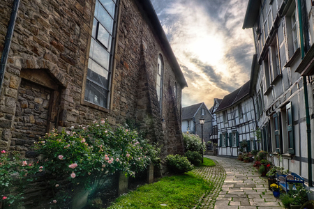 Road in the historical center of Hattingen in the Ruhr Valley region in Germany
