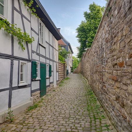Half-timber houses and city wall in Hattingen, Germany