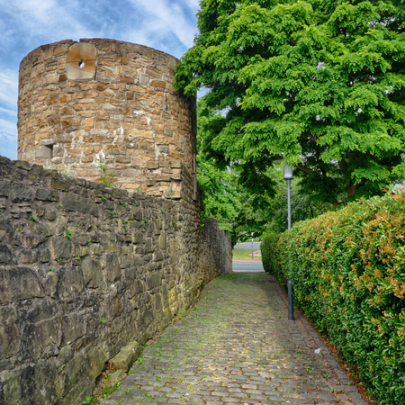 Historical city wall and watchtower in Hattingen in Germany Stock Photo