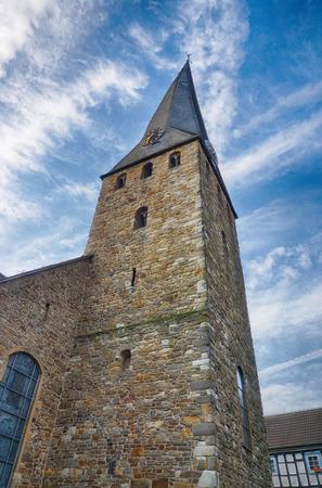 Historical church tower in Hattingen, Germany