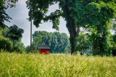 The shire in Kaiserswerth by the river Rhine Stock Photo