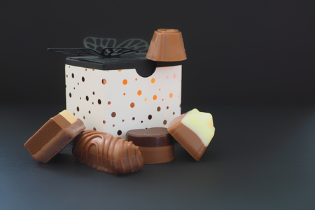 Various chocolates and a gift box Stock Photo
