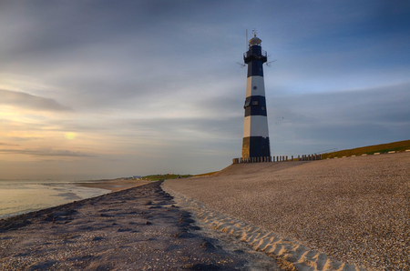 Lighthouse near Breskens at the county of Zeeland in The Netherlands