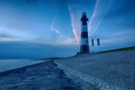 Lighthouse in Nieuwesluis near Breskens, The Netherlands Stock Photo